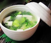 荠菜蚕豆豆腐羹的做法