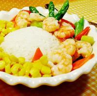 芦笋鲜虾饭的做法