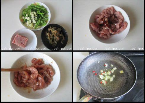 青椒榨菜肉丝的做法 www.meitianmeiwei.com