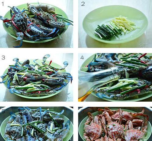 葱姜蒸花蟹的做法 www.meitianmeiwei.com
