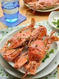 葱姜蒸花蟹的做法
