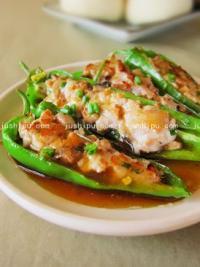 快手菜 青椒酿肉的做法