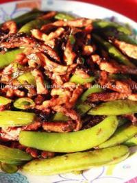 橄榄菜甜豆炒肉丝的做法